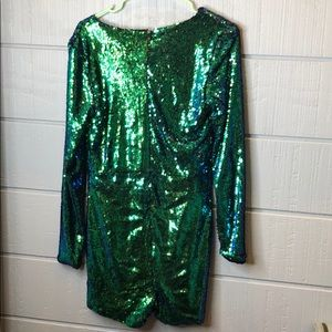 HAODUOYI Pants - Haoduoyi green purple sequin romper lined
